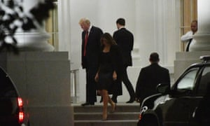 Donald and Melania Trump en route to the Trump international hotel on 28 October. As charges were reportedly filed in Robert Mueller's investigation, the president hammered Hillary Clinton.
