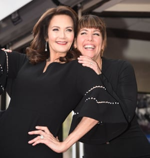 Actor Lynda Carter, left, and director Patty Jenkins attend Carter's star unveiling ceremony.