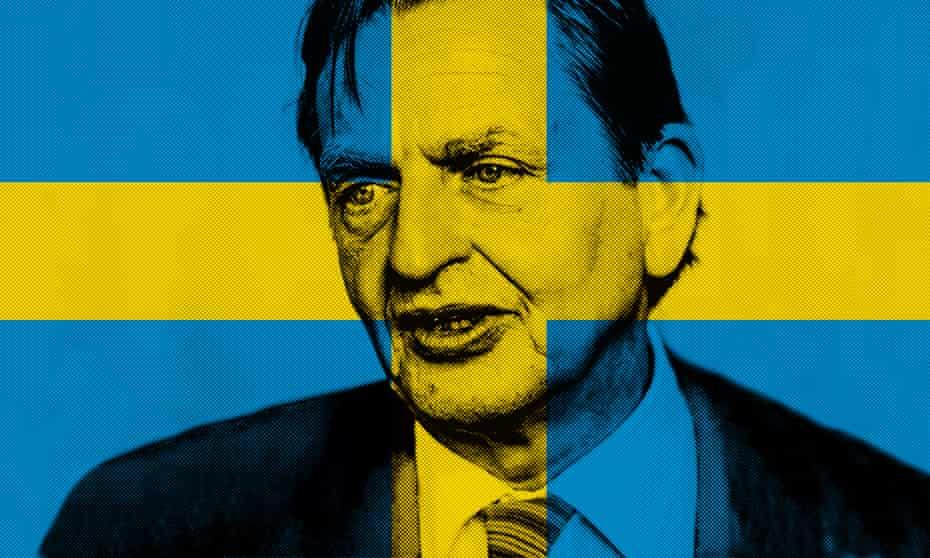 Olof Palme with swedish flag super-imposed
