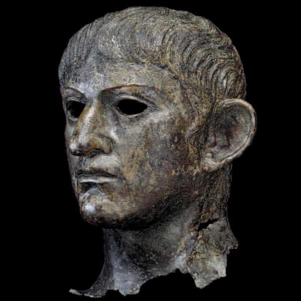 A copper statue of the emperor Nero.