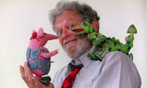 Peter Firmin with Mother Clanger and the Soup Dragon in 1999.