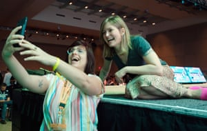Fowler with a festival goer following her Power of a Story session at the 2020 SXSW conference in Austin, Texas,