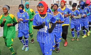 Players train at Golden Club academy in Mogadishu. The team could not participate in a recent tournament because of a lack of funds, the founder said.