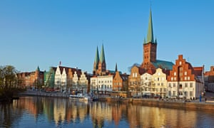 Lübeck, Bach's final destination, with the spires of St Peter's church and twin spires of St Mary's.