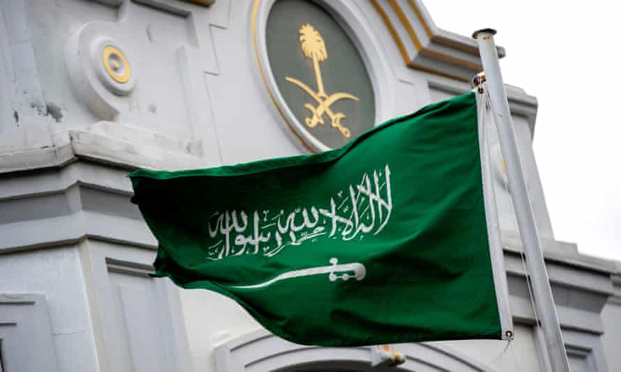 A Saudi Arabia flag flies in front of the Saudi consulate in Istanbul