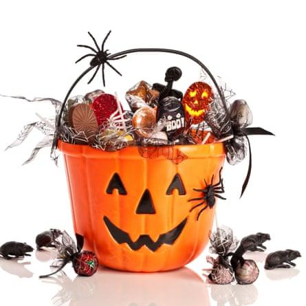 A Halloween bucket full of sweets