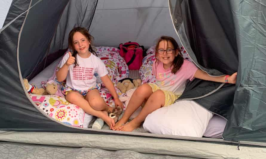 Isobel and Harriet camped in the Forest of Dean in this photo supplied by their mother, Jen Chandler.