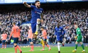 Olivier Giroud rounded off the scoring for Chelsea against Everton at Stamford Bridge.