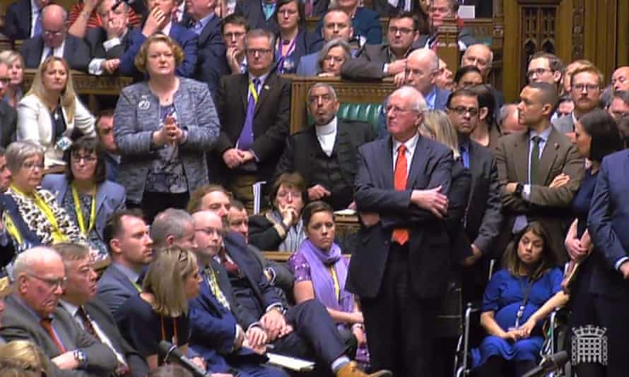 Heavily pregnant Tulip Siddiq (bottom right) attends Parliament to vote in the crucial Brexit debate on 15th January.