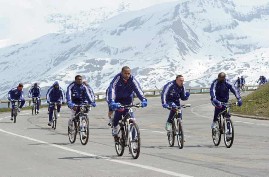 Thierry Henry and team-mates during altitude training in Tignes.