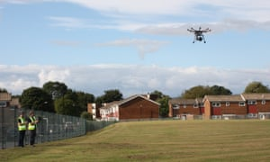 A drone landing in a school field in Newcastle upon Tyne