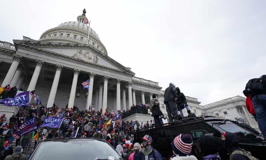 Trump supporters at the Capitol in Washington DC, 6 January 2021.