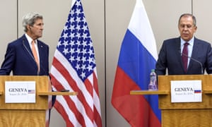 The US secretary of state, John Kerry, left, and Russian foreign minister, Sergey Lavrov, after their meeting in Geneva.
