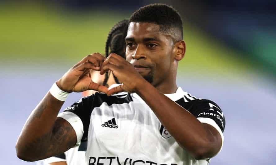 Ivan Cavaleiro celebrates scoring from the penalty spot to put Fulham 2-0 up at Leicester