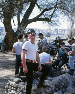 The Blue Max Motorcycle Club cooking chili, circa 1968.