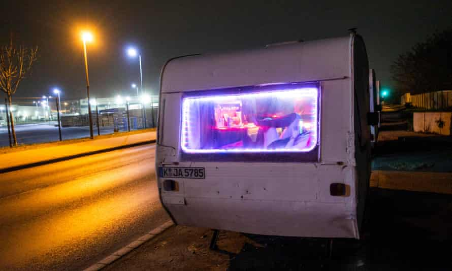 Sex workers operating from caravans in Eifelwall, Cologne.