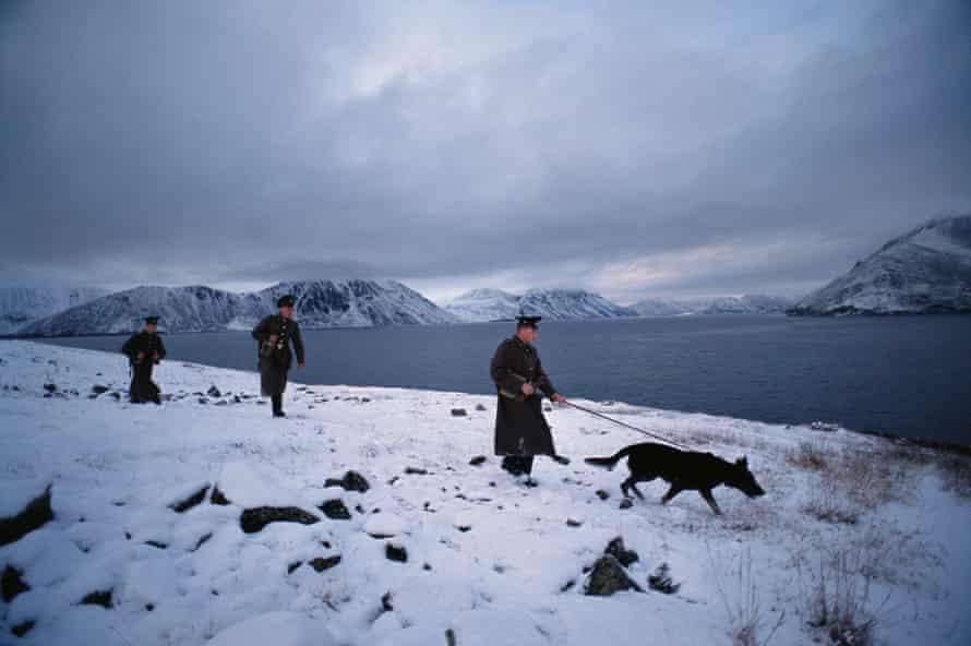 Soviet border guards patrolling along the Provideniya Bay and Bering Sea.