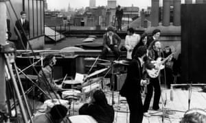 The Beatles performing for the 1970 film Let It Be.
