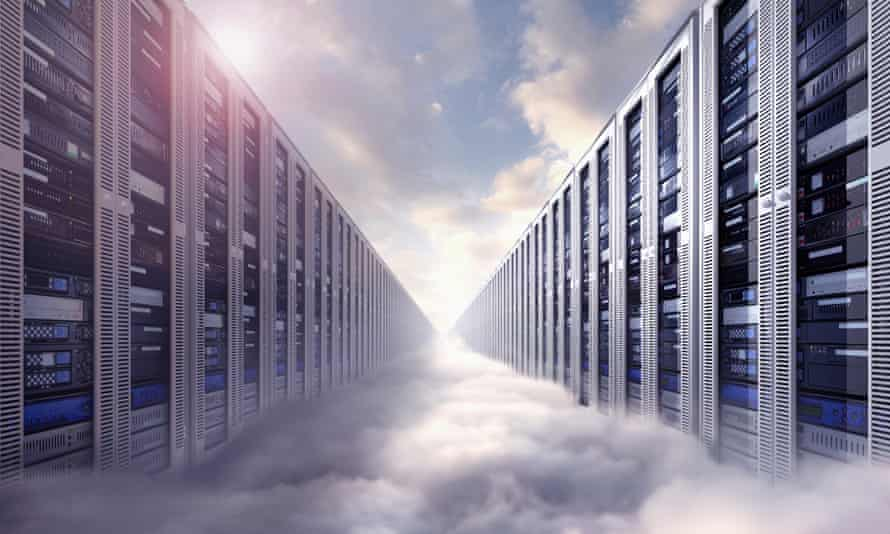 illustration of data servers  in clouds
