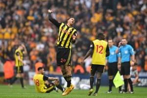 Watford's French midfielder Etienne Capoue celebrates on the final whistle