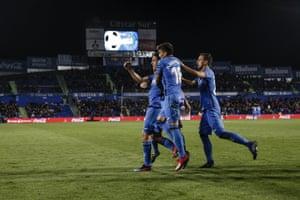 Getafe celebrate against Huesca.