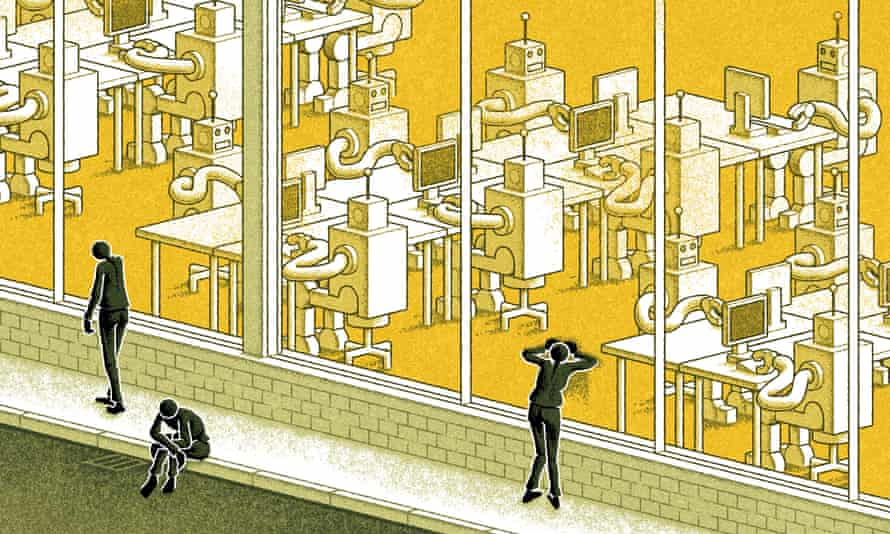 Illustration of human workers ousted by robots, by Matt Kenyon