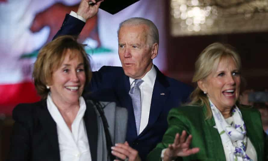 Joe Biden (centre) with wife Jill Biden (right) and sister Valerie Biden Owens (left) in March