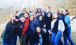 Arwa Mahdawi (centre, in quilted jacket) with school friends: 'I wasn't just the dorky girl with an English accent and an Arab name any more.'