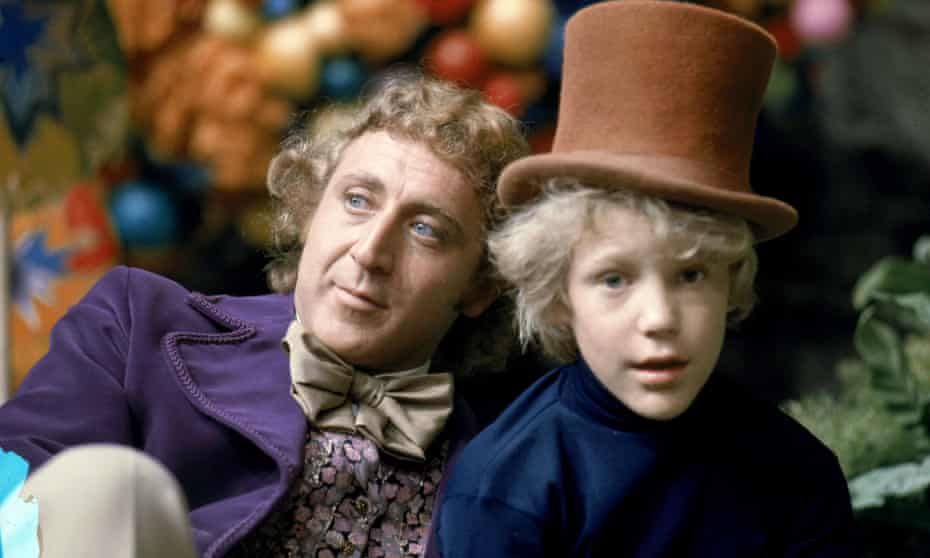 Gene Wilder and Peter Ostrum as Willy Wonka and Charlie in Willy Wonka and the Chocolate Factory (1971).