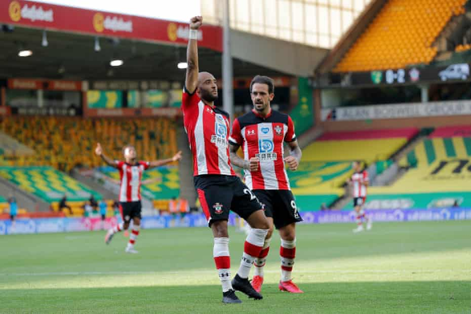 Southampton's Nathan Redmond raises his fist to celebrate scoring the third goal against Norwich City at Carrow Road.