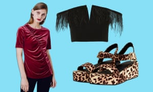 Going out in (clockwise from left): Farrell ruched velvet front T-shirt, £39, Fïnery; Feather trim cropped Bardot top, £39, Topshop and Toucan wedges, £22, asos.com.