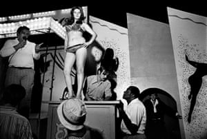 Susan Meiselas, Lena on the Bally box, Essex Junction, Vermont, 1973. From the series Carnival Strippers, 1972-1975