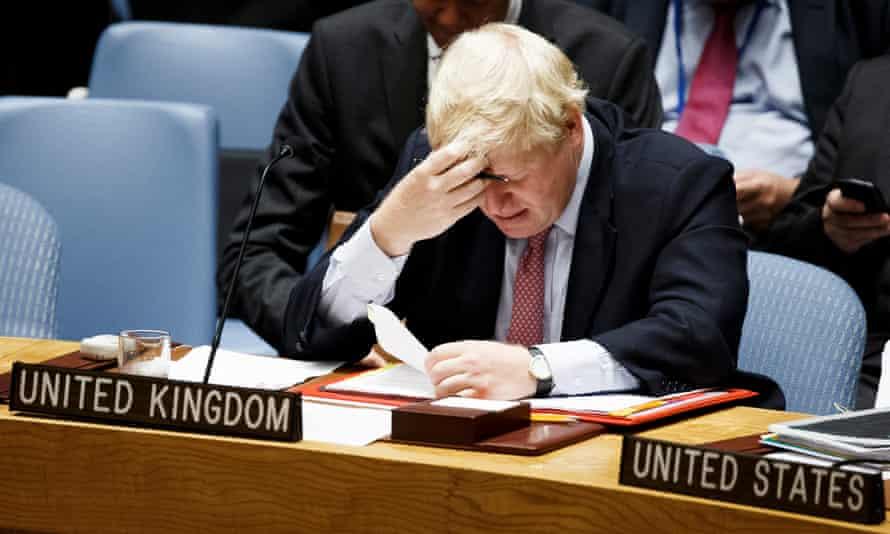 Boris Johnson, the foreign secretary, at a UN security council meeting in September.