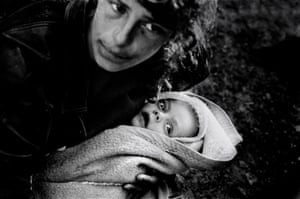 Refugees from the war in Kosovo on the Albanian and Macedonian border, in April 1999.