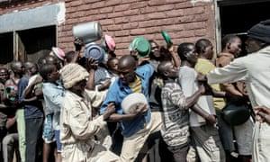 Food distribution in Chichiri prison