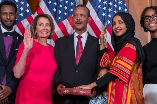 3d8eb2aa72 'My choice': Ilhan Omar becomes first to wear hijab in US Congress   US  news   The Guardian