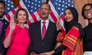 Speaker Nancy Pelosi with Democratic Representative Ilhan Omar during the first day of the 116th Congress.