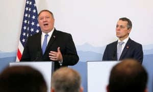 US Secretary of State Mike Pompeo and Swiss foreign minister Ignazio Cassis attend a joint news conference at the medieval Castelgrande castle in Bellinzona, Switzerland on 2 June.