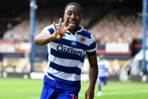 Reading forward Yakou Meite celebrates after notching his fourth goal of the game.