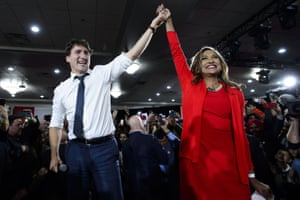 Justin Trudeau and Liberal candidate Nirmala Naidoo at a rally in Calgary