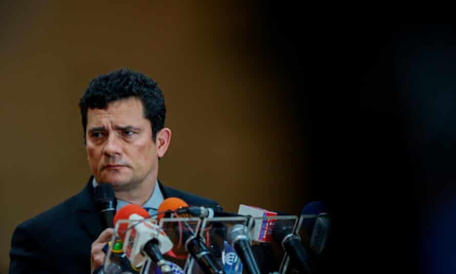 The justice minister, Sérgio Moro, speaks during a press conference after the opening of the National Council of State Secretaries of Justice, Citizenship, Human Rights, and Penitentiary Administration, in Manaus, Brazil, on June 10, 2019.