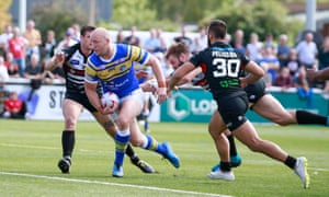 Carl Ablett scores for Leeds Rhinos in their 48-32 win at London Broncos.