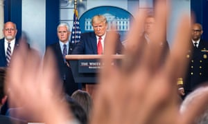 Donald Trump addresses a coronavirus briefing. 'These are rallies by TV press briefing from the podium and that's not what it should be,' said Mike McCurry, who was press secretary to Bill Clinton.