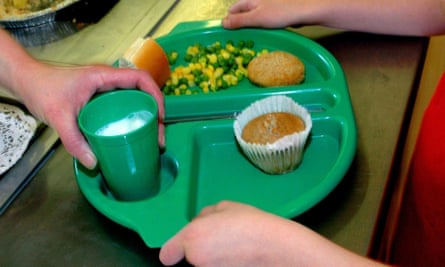 A child being given a school lunch.