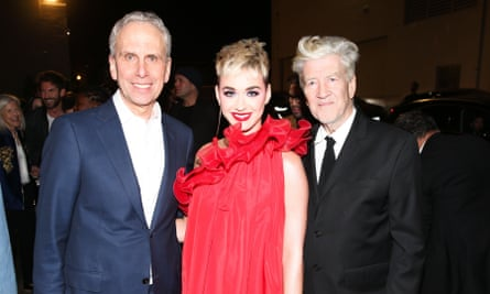 From left: teacher and author Bob Roth, singer Katy Perry and film director David Lynch, who set up a charity to promote TM.