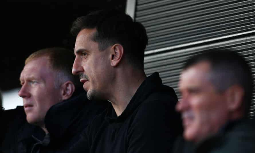 Gary Neville at Salford City's game at home to Tranmere last weekend. He is a co-owner of the League Two club.