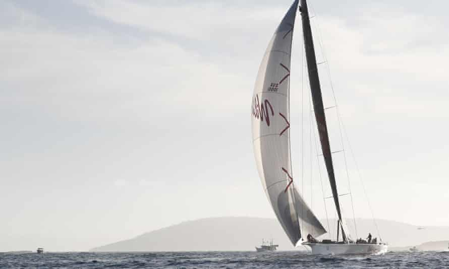 Will Oats XI enters the Derwent River on the last leg of the 74th annual Sydney to Hobart yacht race on Friday morning