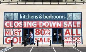 A closing-down sale in Coleraine, Northern Ireland