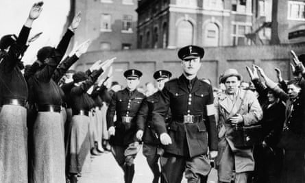 Sir Oswald Mosley being saluted by his followers, London, October 1936.