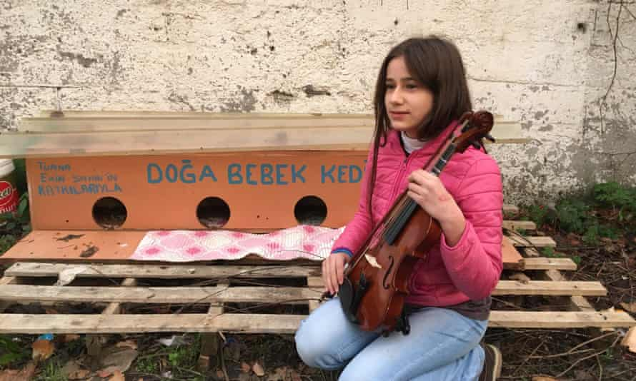 Tuana Ekin Şahin playing the violin to raise money for stray cats in Istanbul